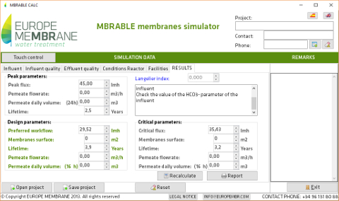 Europe membrane presents its simulation software for the calculation of ultrafiltration membranes MBRableCalc